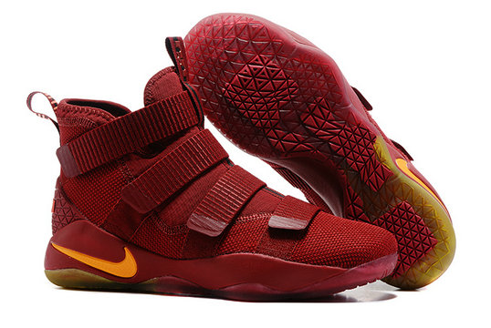 Cheap Wholesale Nike Lebron Soldier 11 PE Yellow Wine Red