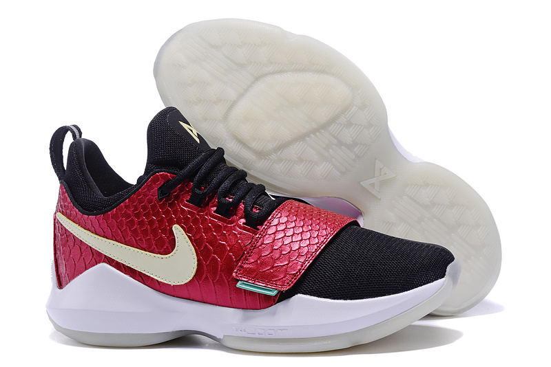 Cheap Wholesale Nike PG 1 Mens Basketball Shoes Black Red White