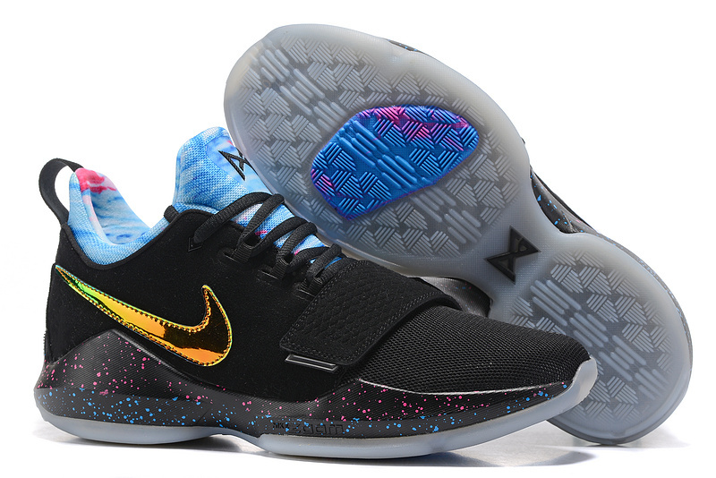 Cheap Wholesale Nike PG 1 Mens Basketball Shoes Gold Black Blue