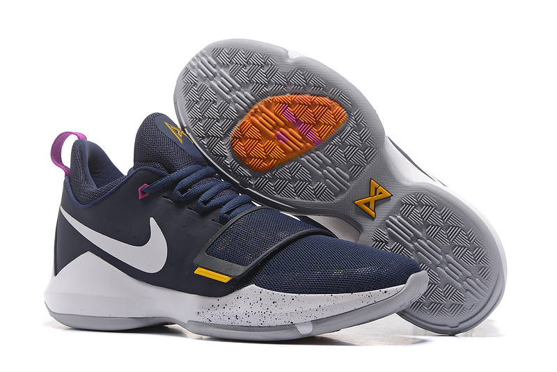 Cheap Wholesale Nike PG 1 Mens Basketball Shoes Navy Blue White Yellow