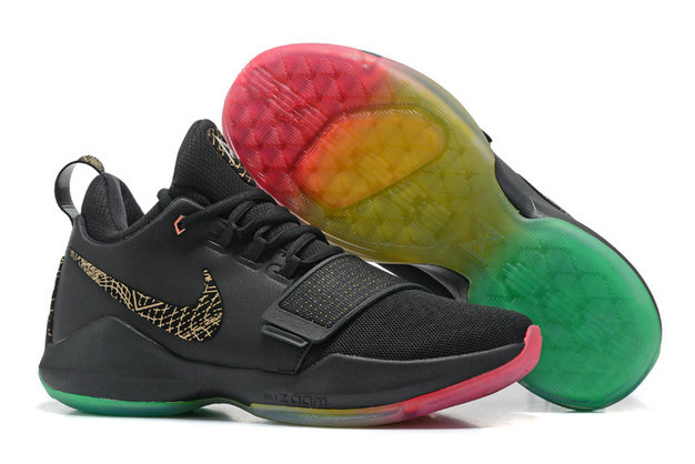 Cheap Wholesale Nike PaulGeorge 1 Basketball Pink Black Gold Grass Green Colorful