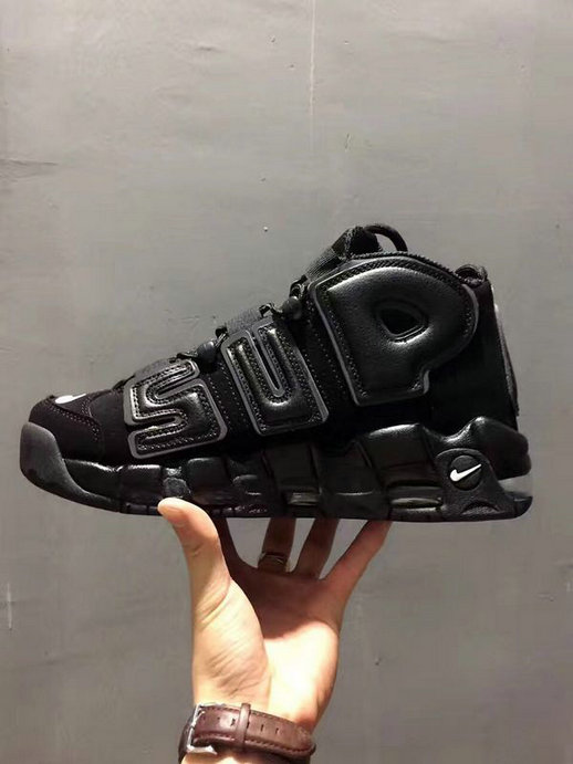 Cheap Wholesale Nike X Supreme Air More Uptempo All Black