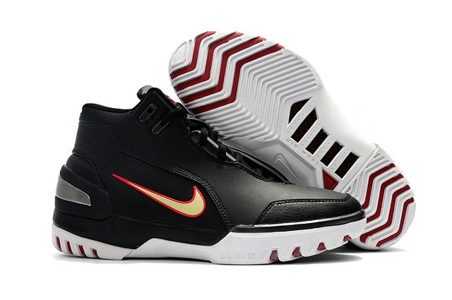 Cheap Wholesale Nike Zoom Generation Lebron James 1 Black White Red Gold