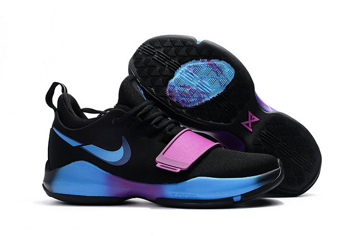 Cheap Wholesale Nike Zoom PG 1 Kids Black Blue Pink