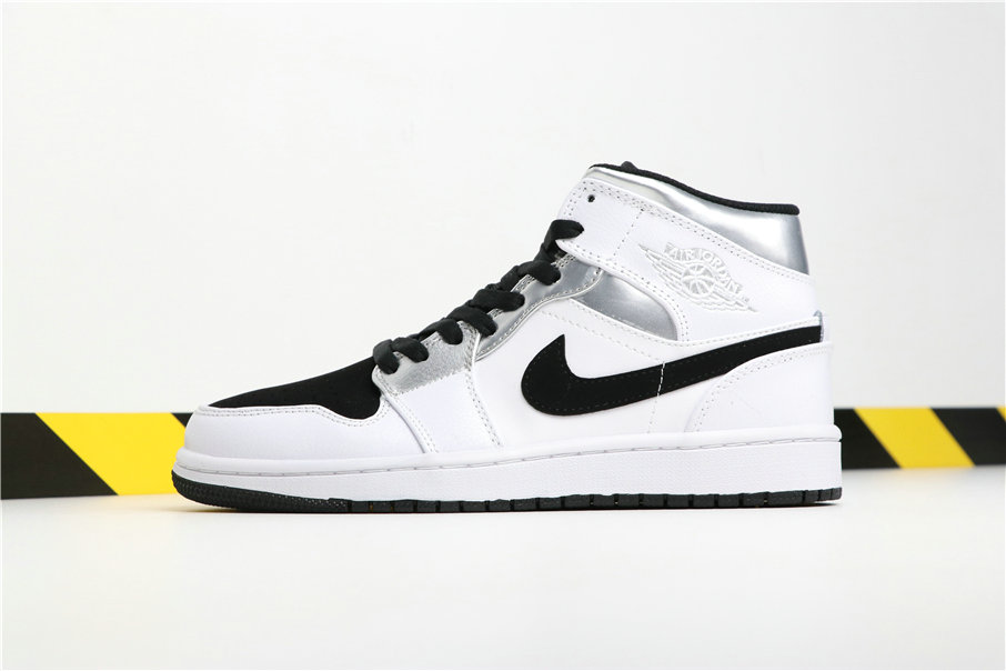 competitive price bf192 6d466 Wholesale Cheap Nikes Air Jordans 1 MID White Black Silver Blanc Noir  Argent 554724-121