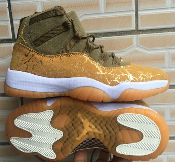 Wholesale Cheap Nikes Air Jordans 11 Golden Olive Custom