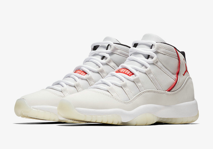 Wholesale Cheap Nikes Air Jordans 11 Platinum Tint Platinum Tint Sail-University Red 378037-016