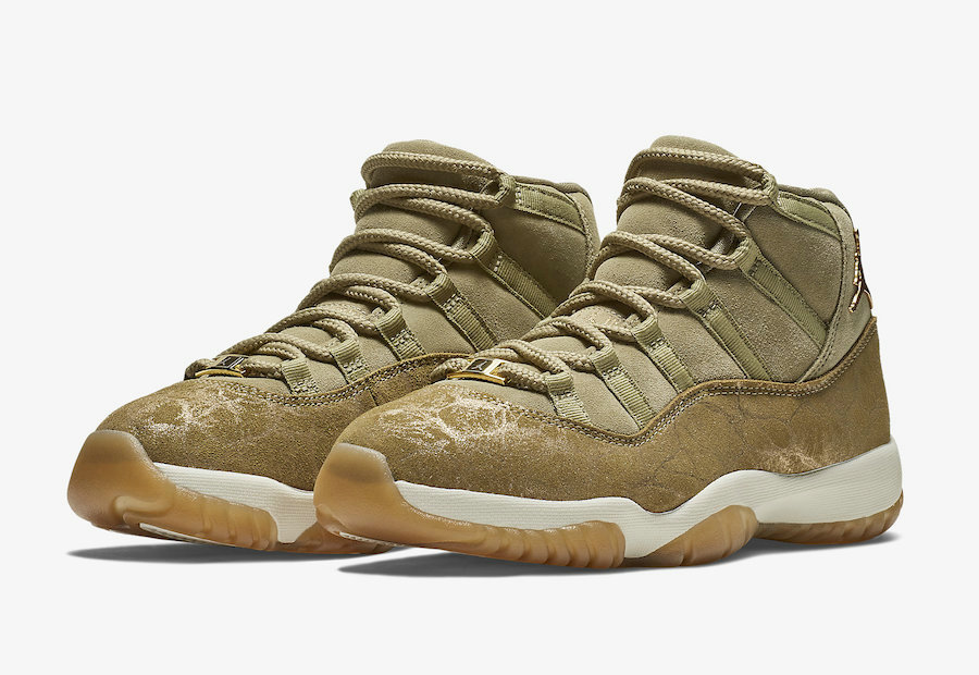 Wholesale Cheap WMNS Nike Air Jordans 11 Neutral Olive Sail-Gum Light Brown-Metallic Stout AR0715-200