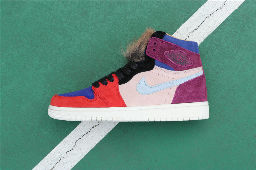 Wholesale Cheap Women Nikes Air Jordans 1 Court Lux High OG Aleali May Bordeaux Sunset Tint-Rush Red-Light Armory Blue BV2613-600