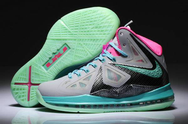 Cheap Wholesale Womens Lebron 10 Pink Green Black Grey