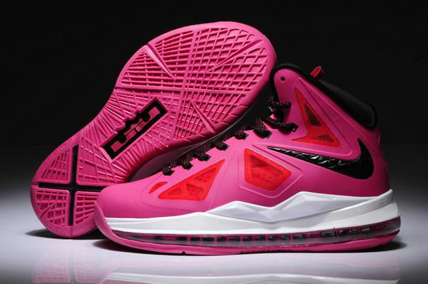 Cheap Wholesale Womens Lebron 10 Pink Red Black White