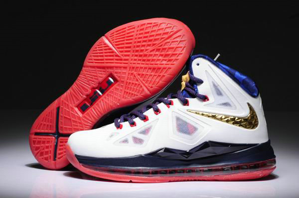 Cheap Wholesale Womens Lebron 10 Red White Blue