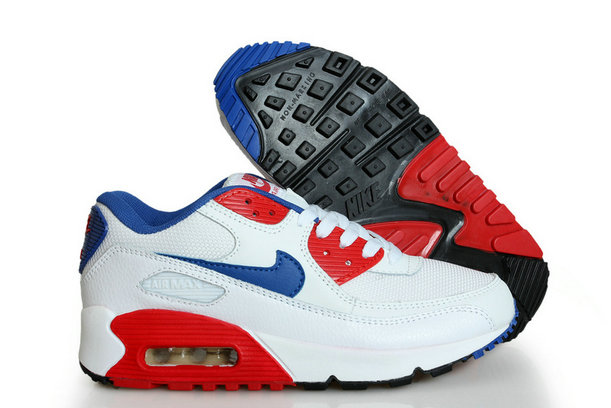 Discount Nike Air Max 90s White Blue Red Black
