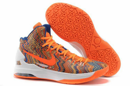 Discount Nike KD 5 Christmas Orange White Blue
