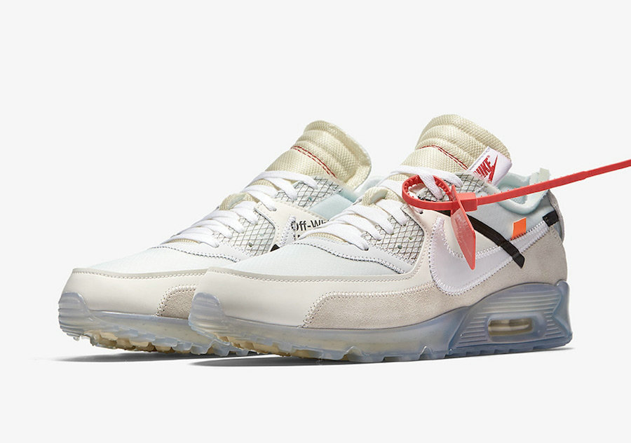 size 40 e9340 e695d Wholesale Girls OFF-WHITE x Nike Air Max 90 Sail White-MuslinAA7293-100