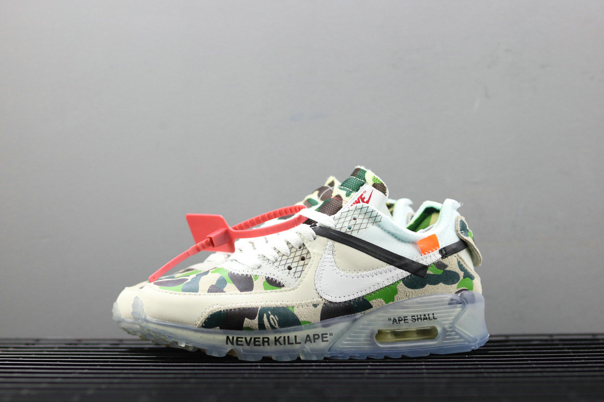 Wholesale Girls Off-White x Nike Air Max 90 Custom Ice Camo