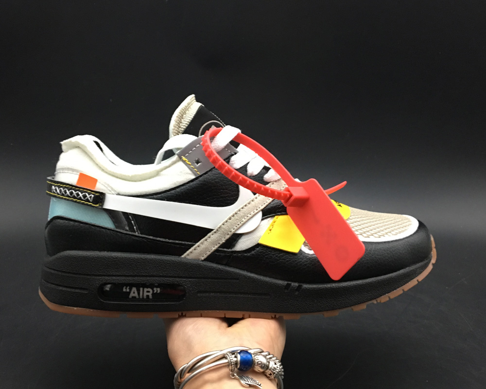 Wholesale Girls Virgil Abloh x BespokeIND Create Off-White X Nike Air Max 1s Black Leather