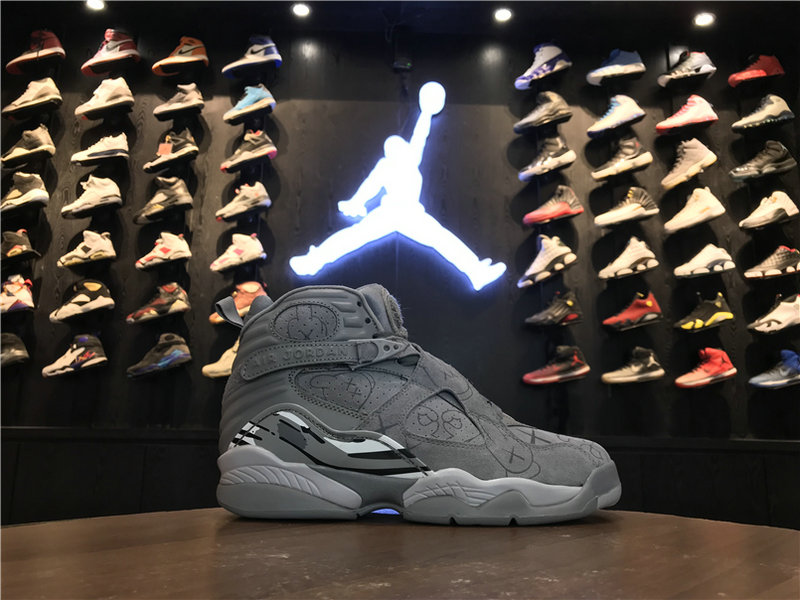 2018 Cheap Wholesale KAWS x Air Jordan 8 Cool Grey 305381-014