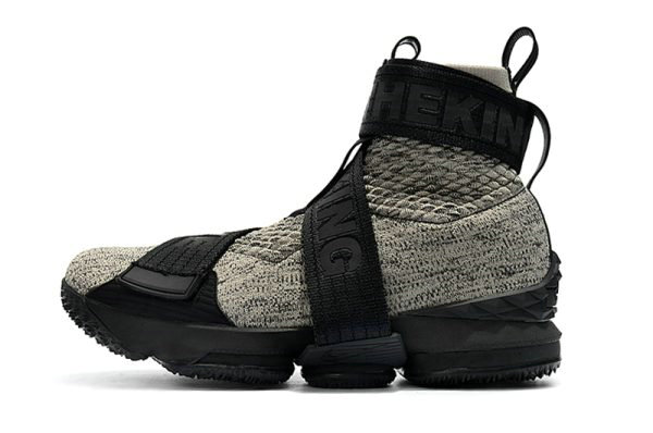 Cheap Wholesale KITH x Nike LeBron 15 Lifestyle Concrete Black Grey Mens Basketball Shoes