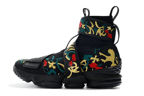 Cheap Wholesale KITH x Nike LeBron 15 Lifestyle Kings Crown Black Gold Floral Mens Basketball Shoes
