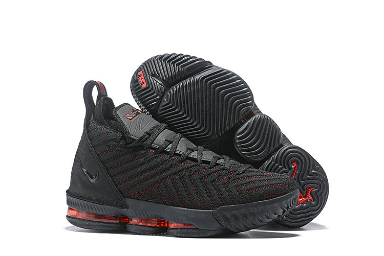 Wholesale Cheap Kids 2019 Cheap Nike LeBron 16 Fresh Bred Black University Red AO2588-002
