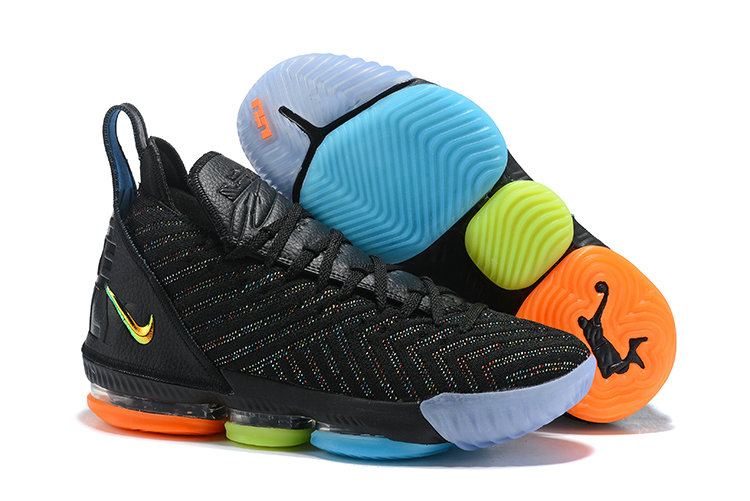 Wholesale Cheap Kids 2019 Cheap Nike LeBron 16 I Promise Black Multi-Color AO2595-004