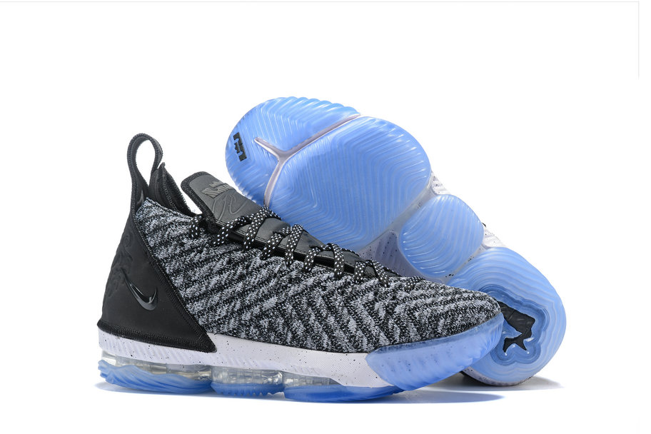 Wholesale Cheap Kids 2019 Cheap Nike LeBron 16 Oreo Black Metallic Silver-White AO2588-006