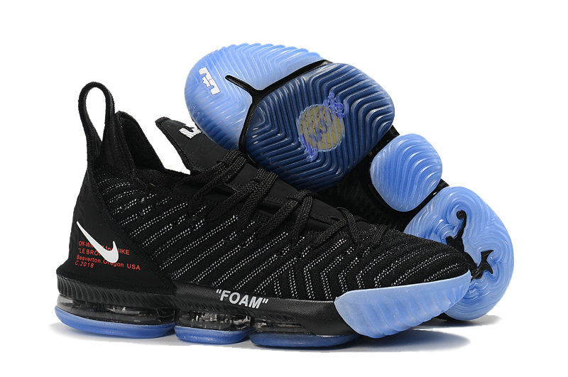 Wholesale Kids Nike Lebrons 16 Cheap Black Blue