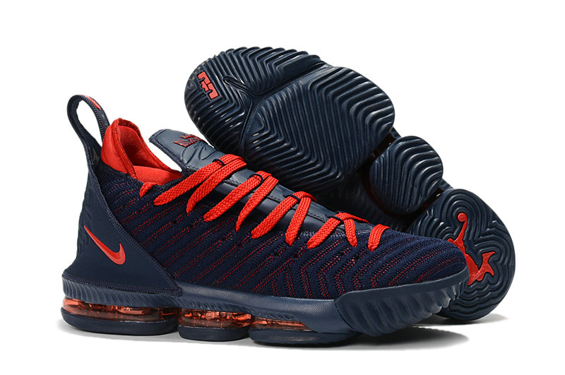 Wholesale Kids Nike Lebrons 16 Cheap Red Navy Blue