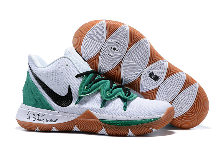 Wholesale Cheap Kyrie Irving Debuts a New Nike Kyrie 5 Celtics PE White Black Gold Green