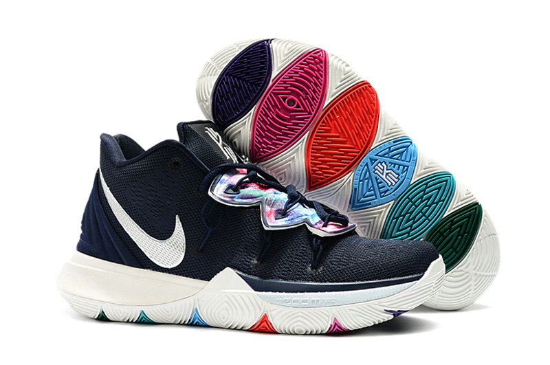 Wholesale Cheap Kyrie Irvings For Kids Nike Kyrie 5 Navy Blue White