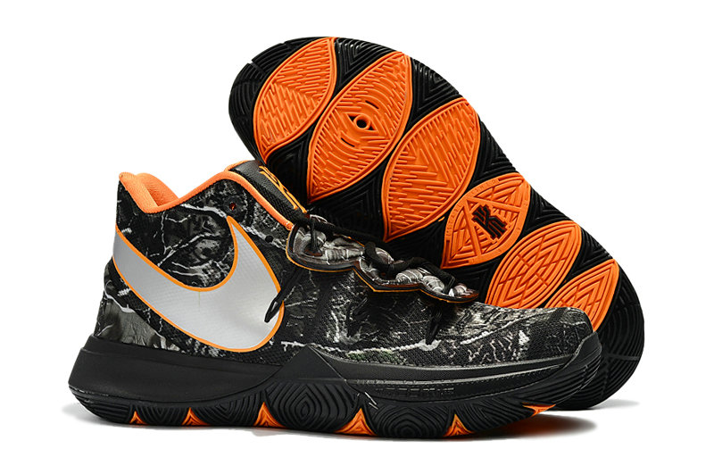 Wholesale Cheap Kyrie Irvings For Womens Nike Kyrie 5 Orange Black Grey