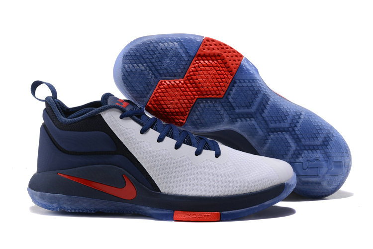 Lebron Sneakers Cheap Wholesale Nike Lebron Witness 2 White Red Navy Blue
