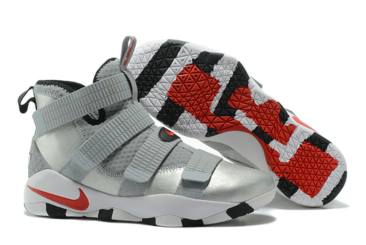 7bbc49bc7aa Lebron Soldier Sneakers Cheap Wholesale Nike Lebron Soldier 11 Silver Red  Black White