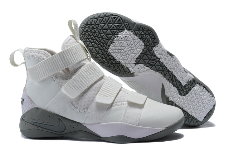 Lebron Soldier Sneakers Cheap Wholesale Nike Lebron Soldier 11 White Grey