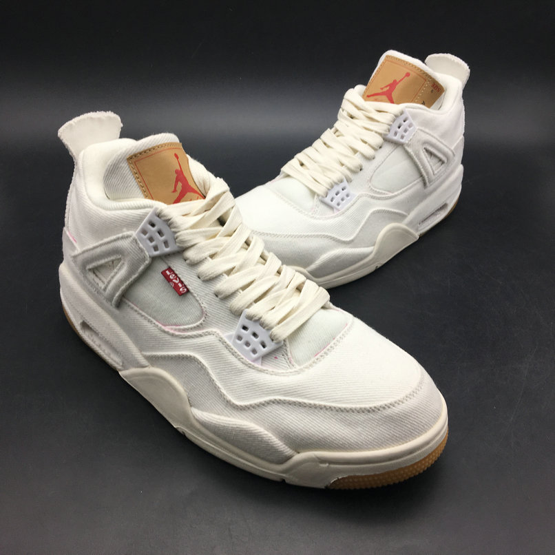 Wholesale Levis x Air Jordan 4 White AO2571-100