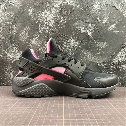 Cheap Wholesale Mens Nike Air Huarache Run PRM 318429-055 Black Anthracite Solar Red Noir Rouge