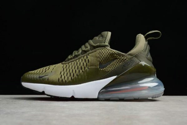 Cheap Wholesale Mens Nike Air Max 270 Medium Olive Black-Total Orange-White Running Trainer AH8050-201