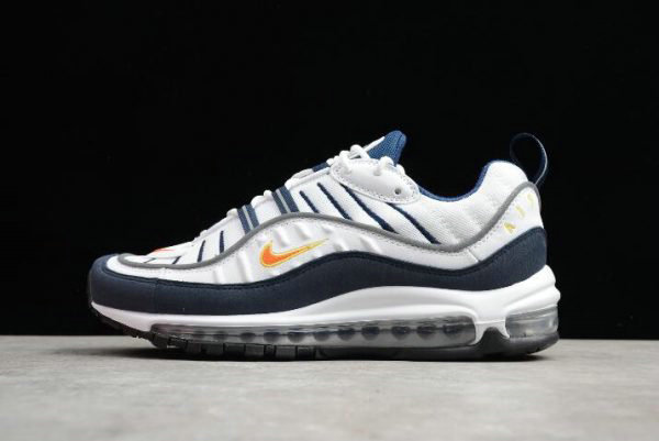 Cheap Wholesale Mens Nike Air Max 98 OG White Blue Orange Metallic Silver 640744-104