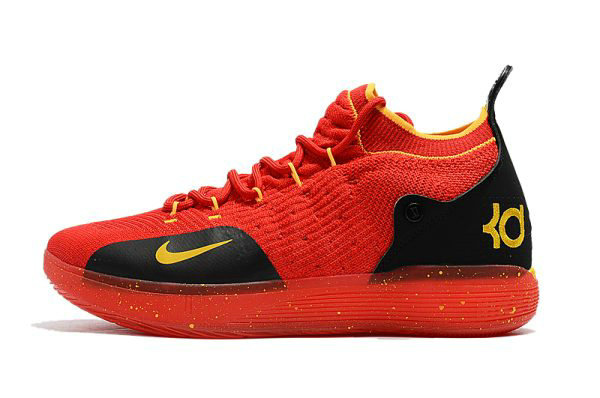 Cheap Wholesale Mens Nike KD 11 University Red Black-Yellow Basketball Shoes