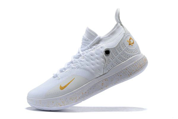 Cheap Wholesale Mens Nike KD 11 White Metallic Gold Basketball Shoes On Sale
