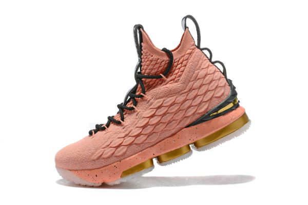 Cheap Wholesale Mens Nike LeBron 15 Hollywood All-Star Rust Pink Metallic Gold-Black 897650-600
