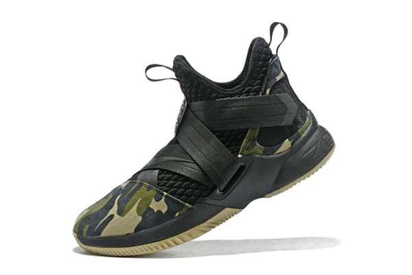 Cheap Wholesale Mens Nike LeBron Soldier 12 SFG Camo Black Black-Hazel Rush AO4054-001