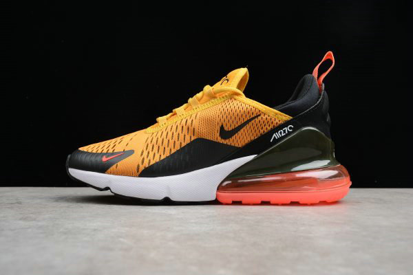 Cheap Wholesale Mens Size Nike Air Max 270 Tiger Black University Gold-Hot Punch-White AH8050-004