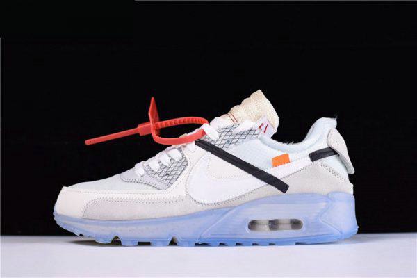 Cheap Wholesale Mens and WMNS Virgil Ablohs OFF-WHITE x Nike Air Max 90 Ice The Ten AA7293-100