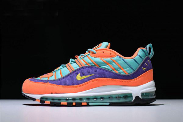 Cheap Wholesale Mens and Womens Nike Air Max 98 QS Cone Tour Yellow-Hyper Grape 924462-800