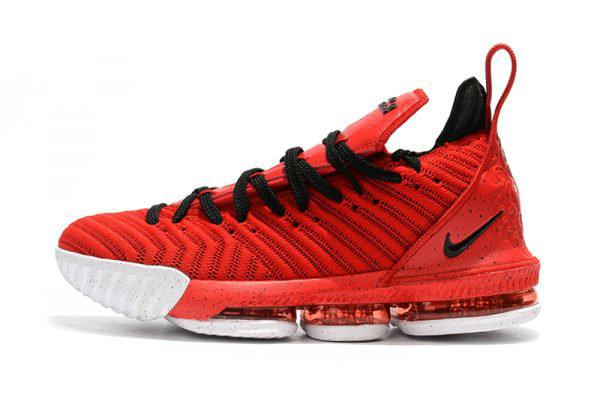 Cheap Wholesale Mens and Womens Nike LeBron 16 University Red Black-White For Sale