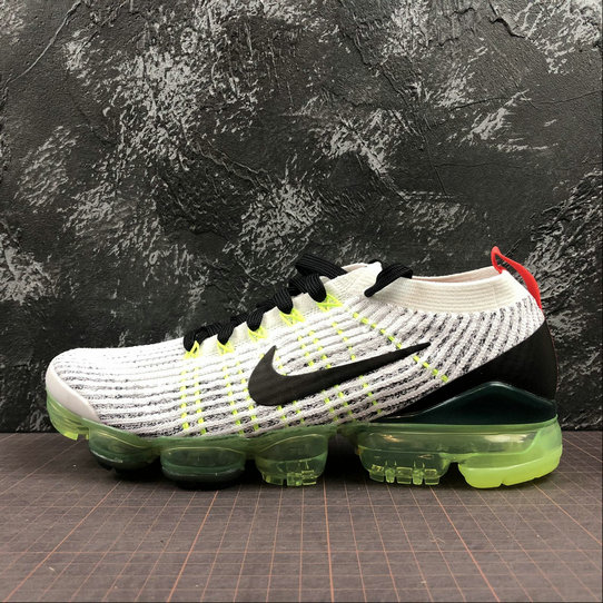 Wholesale Cheap NIKE AIR VAPORMAX FLYKNIT 3.0 AJ6900-100 Black Grey Fluorescent Green Vert Noir Gris