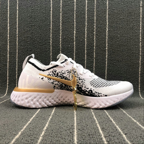 Wholesale NIKE EPIC REACT FLYKNIT AQ0067-071 WHITE BLACK GOLD BLANC NOIR OR