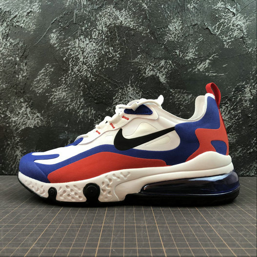 Cheap Wholesale NIKE REACT AIR MAX AQ9087-106 White Royal Blue Red Blanc Royal Bleu Rouge